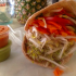 A tasty pita sandwich filled with fresh vegetables. Try your own at the Last Carrot!