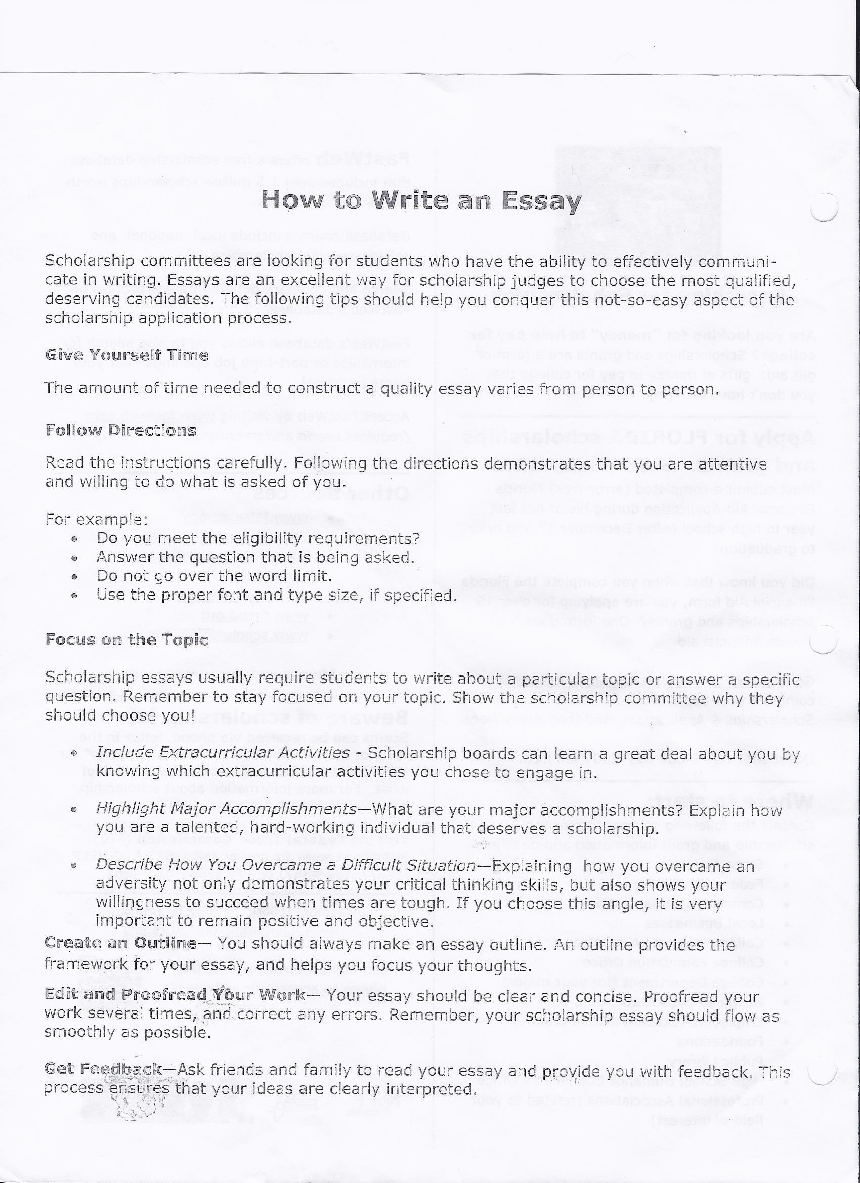 Writing an essay in college