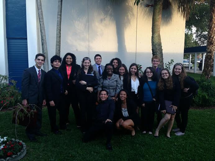 The Coral Gables Speech and Debate Club after winning big at Coral Springs.