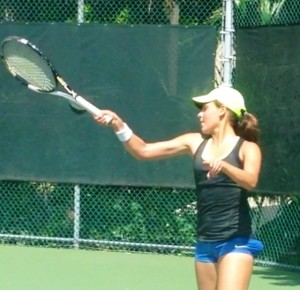 Sophomore Paulina Bejar getting ready for the season during private lessons.