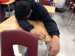 This student decided to skip out on breakfast and, as a result, dozed off in class.