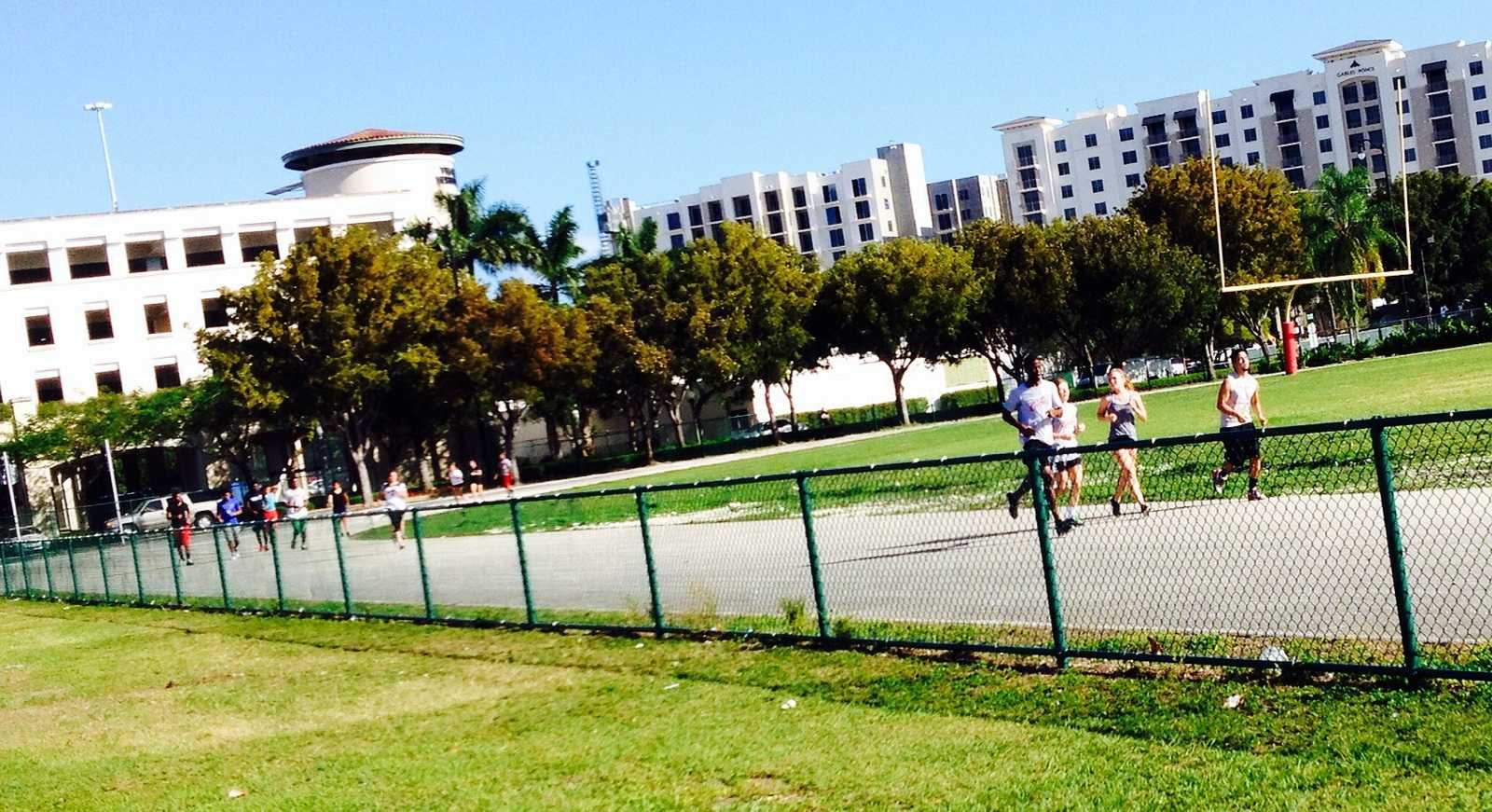 The Coral Gables track team practicing hard and preparing for a great season.