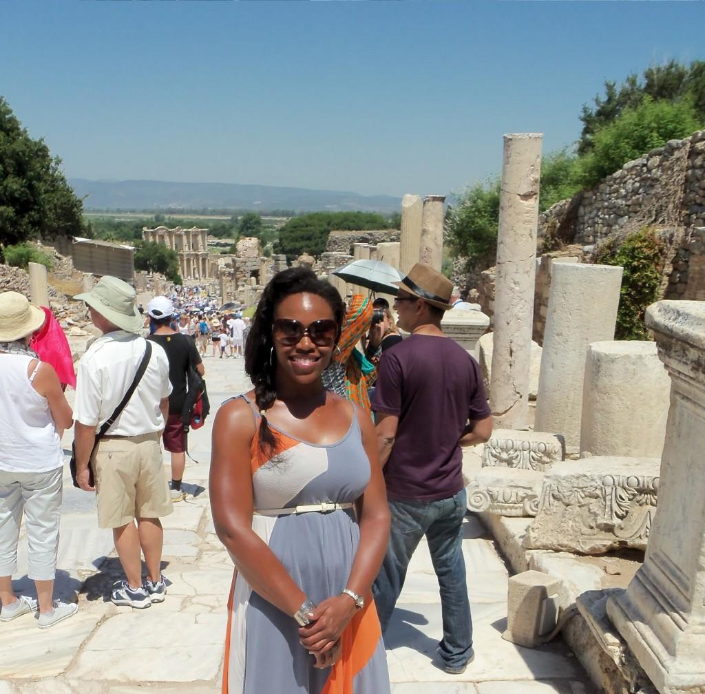 Ms. Smith walking the streets of ancient Ephesus.
