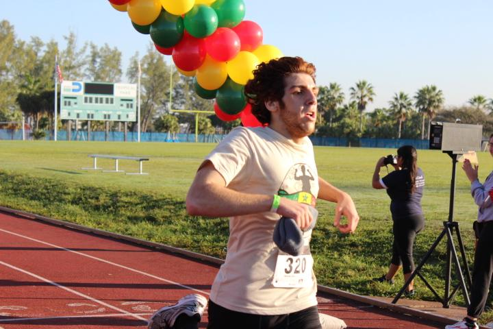 One of Gables sophmores finishing up the race