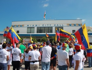 People are gathered at the Miami City Hall to support Venezuela.