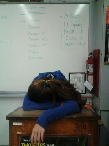 Freshman Julieta Martinez caught by the slump while her research paper's due date is days away.