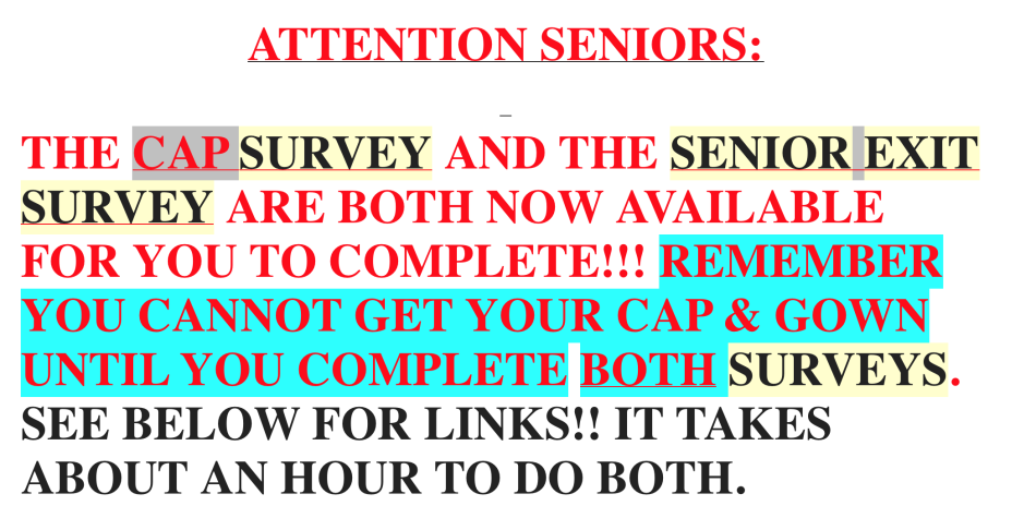 ATTENTION SENIORS - MANDATORY STEPS TO BE COMPLETED BY MAY 9