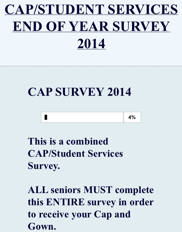 Be sure to complete your senior CAP survey today!