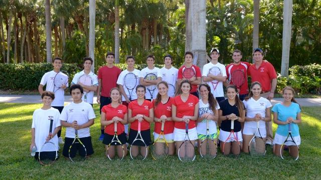 CGHS Tennis Team poses with their coach, David Weiner.