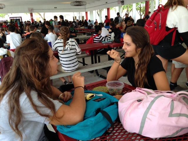 Freshman Ambar Calle enjoys a healthy lunch.