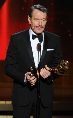 Bryan Cranston giving his acceptance speech for winning Best Actor in a Drama Series.