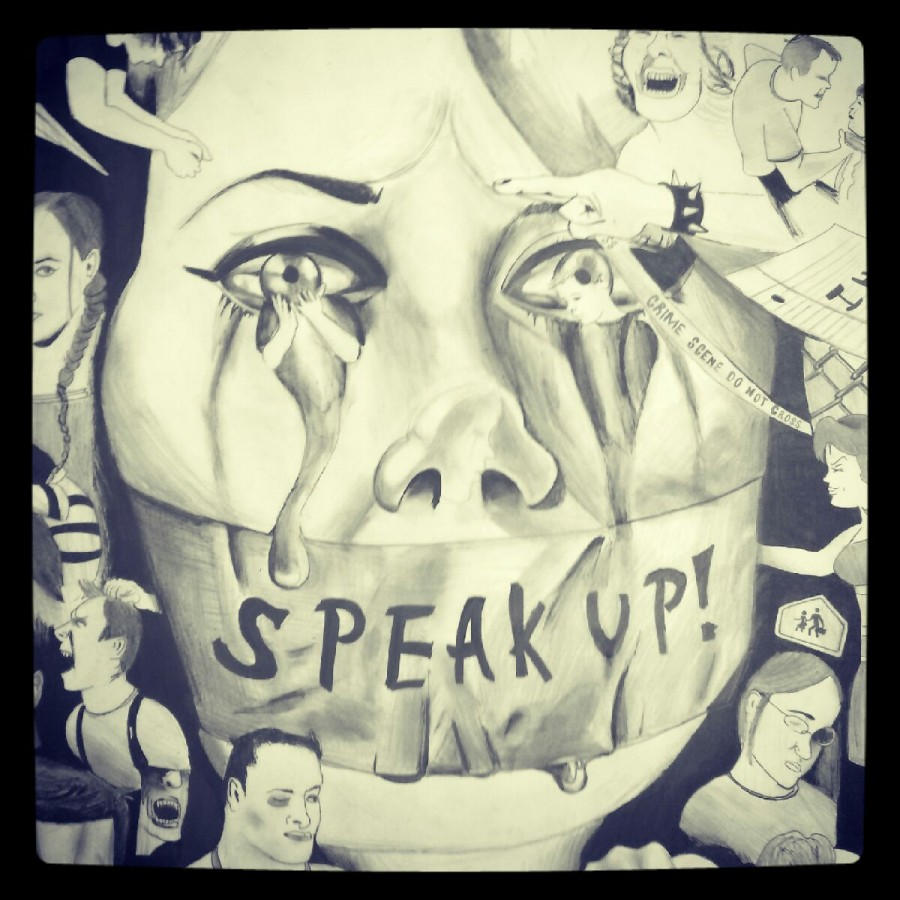 Drawing depicting the silent torture of sexual assault victims.