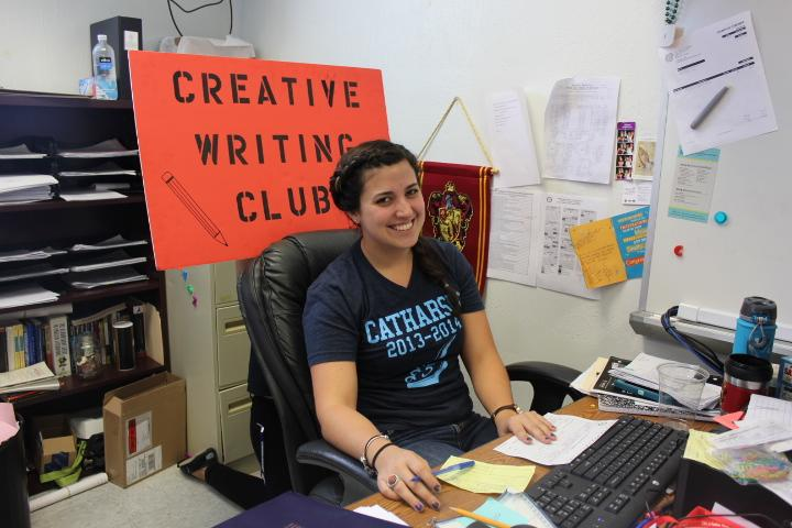 Ms. Zaldivar is the sponsor for Catharsis and Creative Writing club