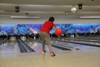 Bowling at one of her most recent matches.