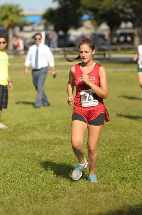 Caroline Bauwens pushes at the end of this year's King of the Hill Invitational.