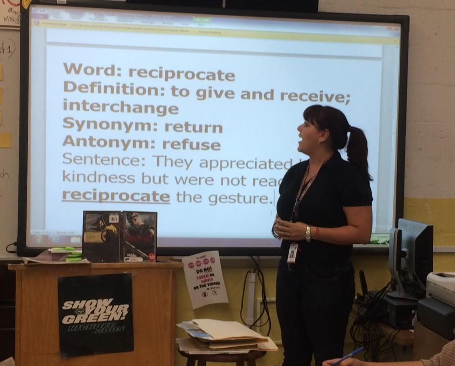 Mrs. DePaola teaching her 12th grade class.