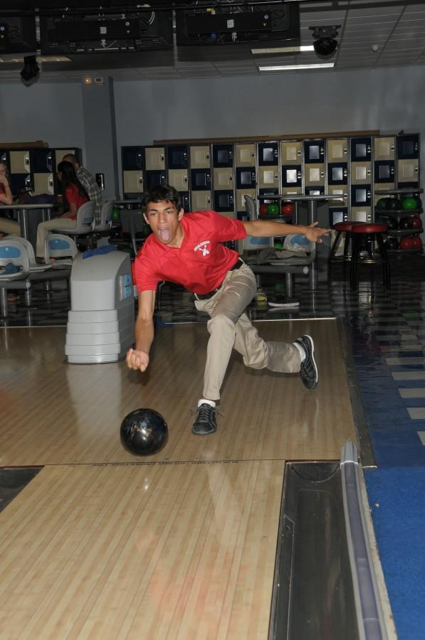 Junior Matthew Monjarrez strikes up a great score for the Gables Bowling team.