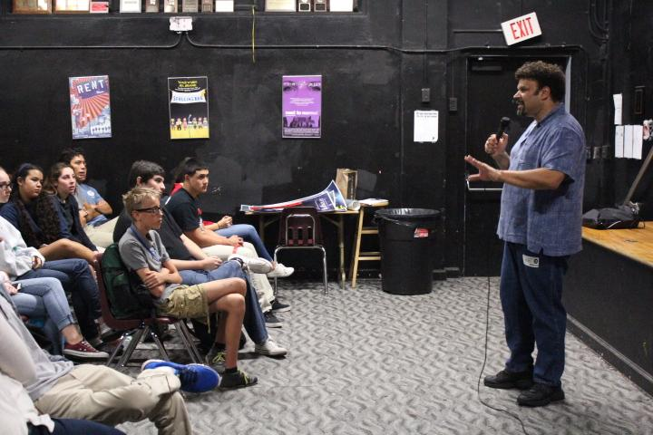 Neal Shusterman presents in front of Ms. Barrow's drama class.