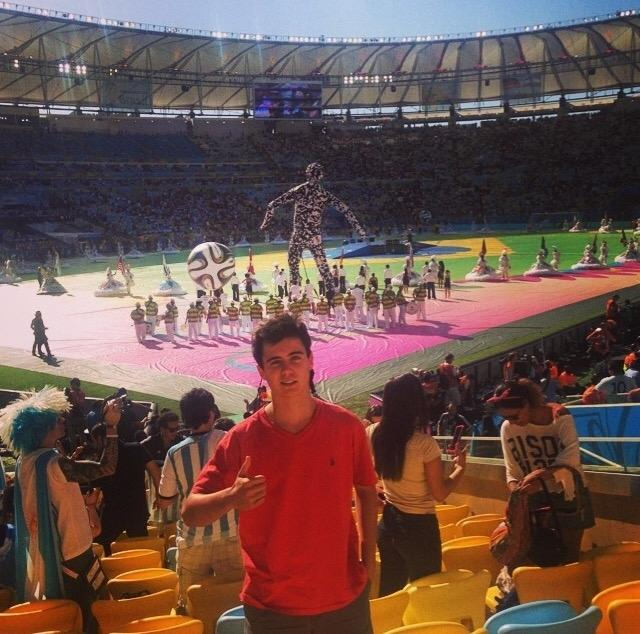Soccer lover Alex Rabell poses at the FIFA World Cup Final in Brazil.