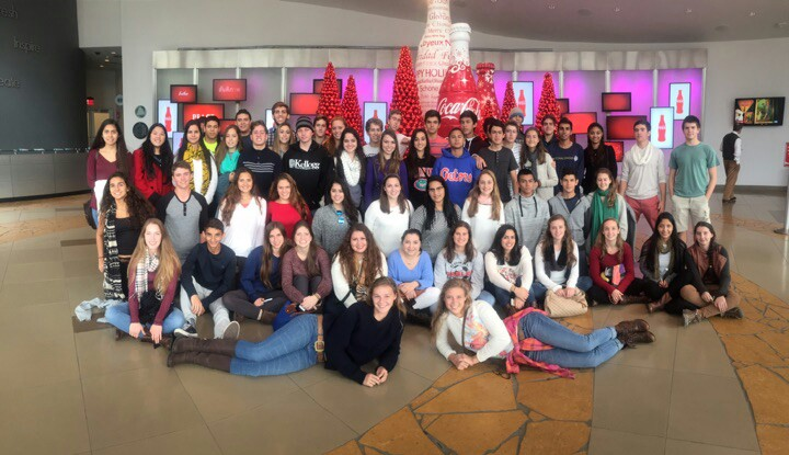 Juniors gather at the Coca-Cola Factory, one of the many stops of out of state college tour.