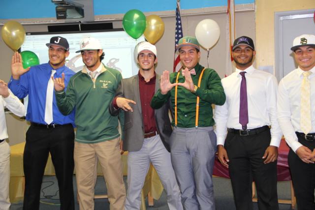 Senior baseball players representing their chosen schools!