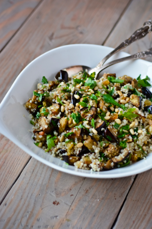 Quinoa with Garlic, Pine Nuts and Dried Cranberries