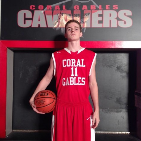 Tristan Huebner proudly representing his new school in his red and white Gables jersey.