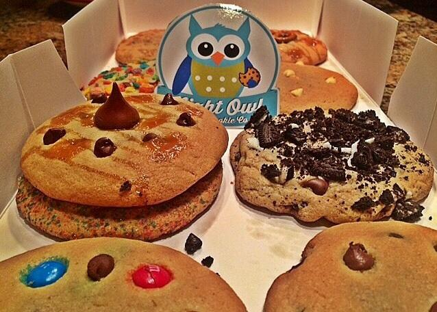 Night Owl Cookies offers a warm box filled with mouthwatering cookies perfect for late night study sessions.