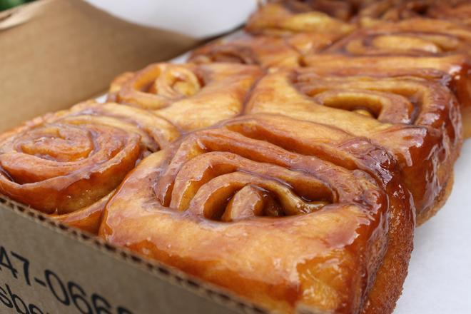 A close-up of the delicious cinnamon rolls at Knaus Berry Farm