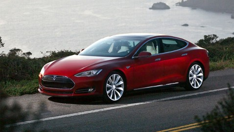 The Tesla model S car, a fully electric car ranging up to 370 miles.
