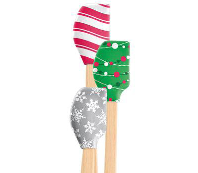 Mini holiday spatulas are a perfect stocking stuffer for any baker.