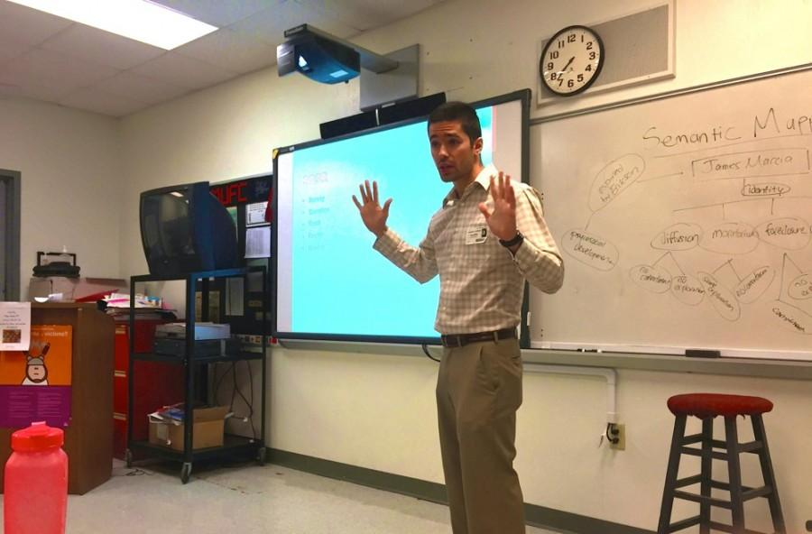 Edward Duran lectures Nelsons IB junior psychology class.