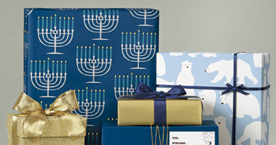 Giving gifts is a great way to celebrate Hanukkah, especially with festive wrapping!