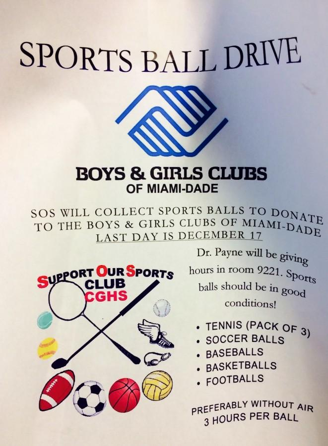 Support Our Sports (SOS) Club is donating sports balls to the Boys & Girls Club of Miami-Dade.