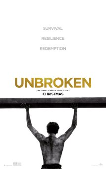 Unbroken, directed by Angelina Jolie, depicts the experiences of Olympic athlete Louis Zamperini after he is taken prisoner by the Japanese during World War 2.
