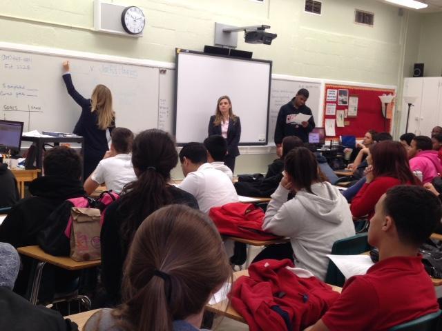 Lawyers Naomi Alzate and Veronica Gordon teach Mr. Garcia's 4th period.