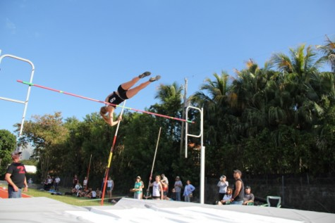 Hanna Schiefer clearing the bar in the girls pole vault.