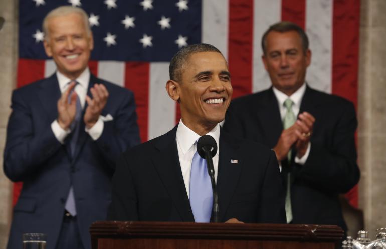 Una foto del Presidente Obama durante el discurso del Estado de la Unión.