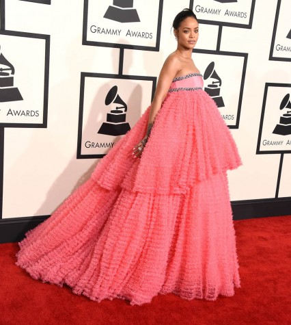 Rihanna's dress was one of the most talked about fashion choices at the Grammys.