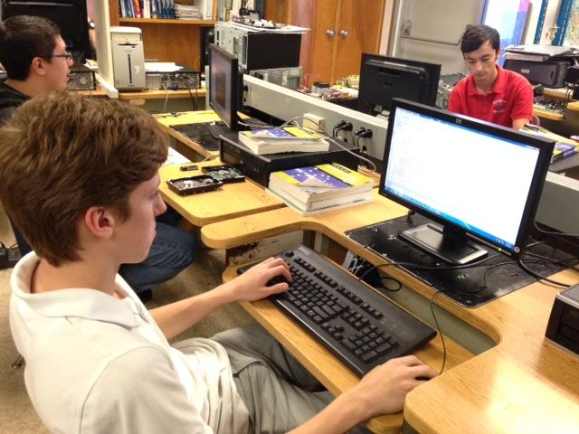 Freshman Connor Drucker in computer programming class.