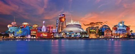 A shot of downtown Disney from the bay.
