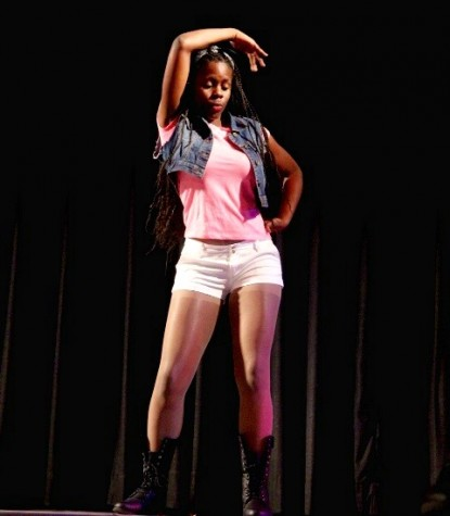 Neila McNally performing at one of this year's pep rallies.