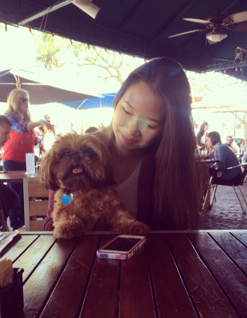 Jessica Wang and her beloved pet dog, Rosie.