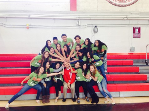 "Jessica Wang and her Blood Drive Committee pose for a ""family picture""."