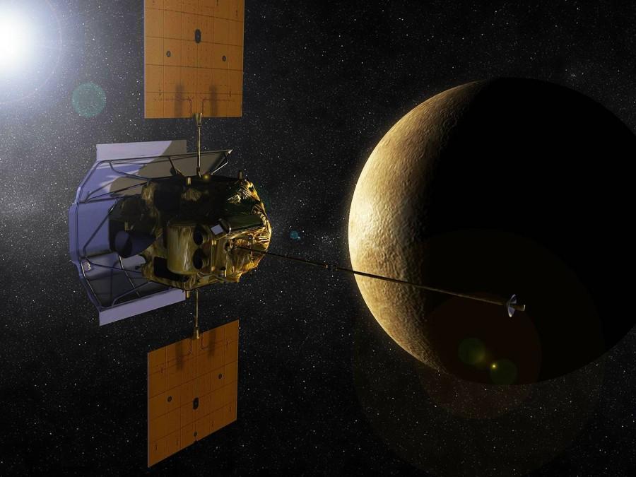 Artists presentation of the Messenger spacecraft orbiting Mercury.