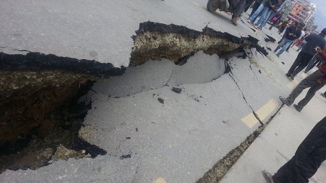 Roads in and out of Kathmandu are destroyed.