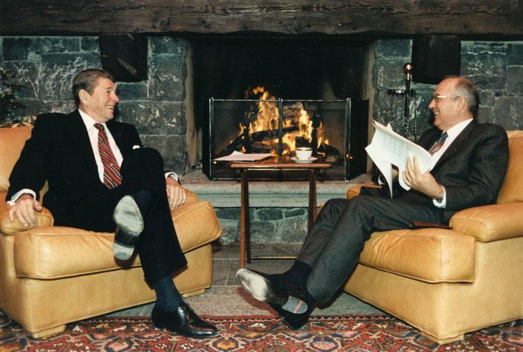 Former CPSU General Secretary Mikhail Gorbachev converses with former U.S. President Ronald Reagan.