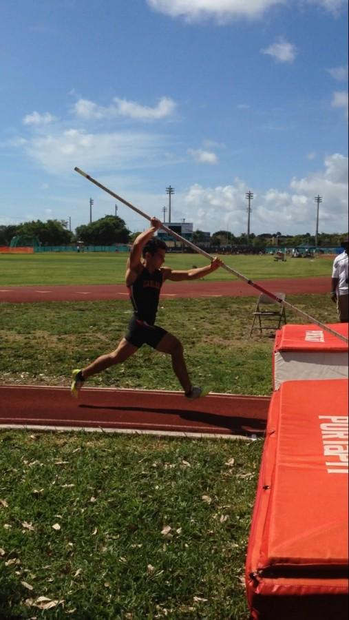 Abraham Ahumada, second place winner at 2015 District Pole Vaulting Competition.