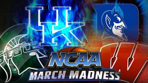 The Final Four in the NCAA's March Madness: Michigan State, University of Kentucky, Duke and Wisconsin.
