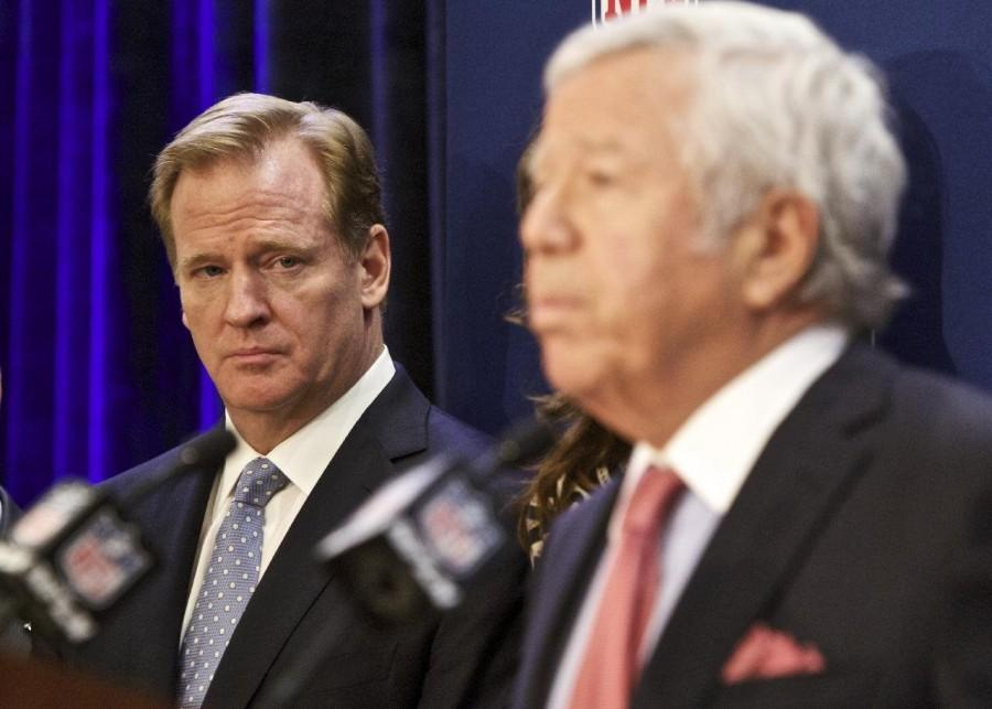 The New England Patriots manager and the commissioner of the NFL after the Deflate Gate consequences were announced.